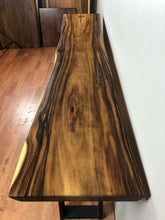 Live edge wood slab hallway table