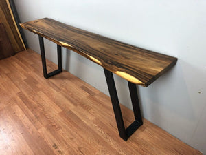 Sloped rectangular metal console table base