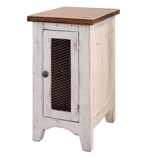 Rustic dual tone white brown side table