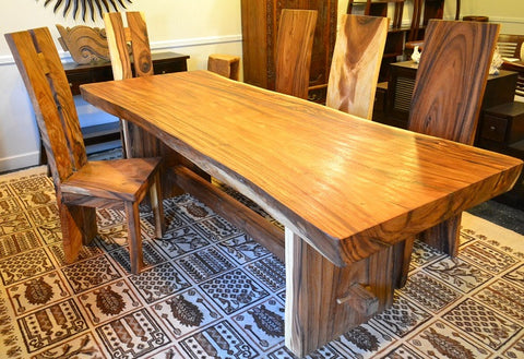 Live Edge Chamcha Wood Slab Dining Table R Home Furniture