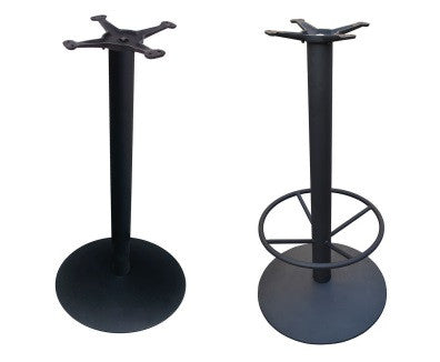Round Bar Height Base with Optional Footrest in Cast Iron