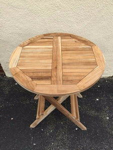 "Teak wood folding 23.5"" round table for garden patio outdoor"
