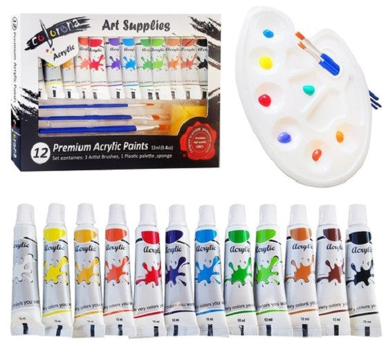Acrylic Paint Set with Palette, 3 Brushes and Sponge, 12 ml (12 Colors) Perfect for canvas,wood,ceramic,fabric & crafts.Non toxic & Vibrant colors.Rich Pigments With Lasting Quality -Great For Beginners,Students & Professional Artist