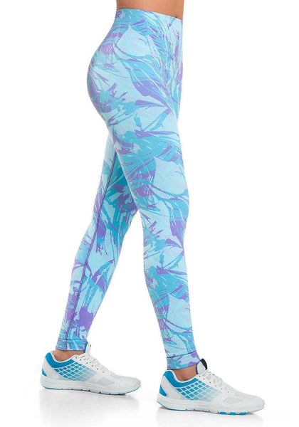 924 - Ultra Compression and Abdomen Control Fit Legging Stripped Blue