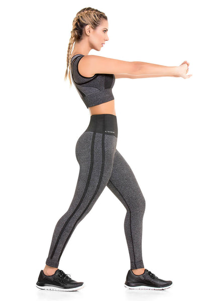 902 – Ultra Compression and Abdomen Control Fit Legging Gray Jaspe