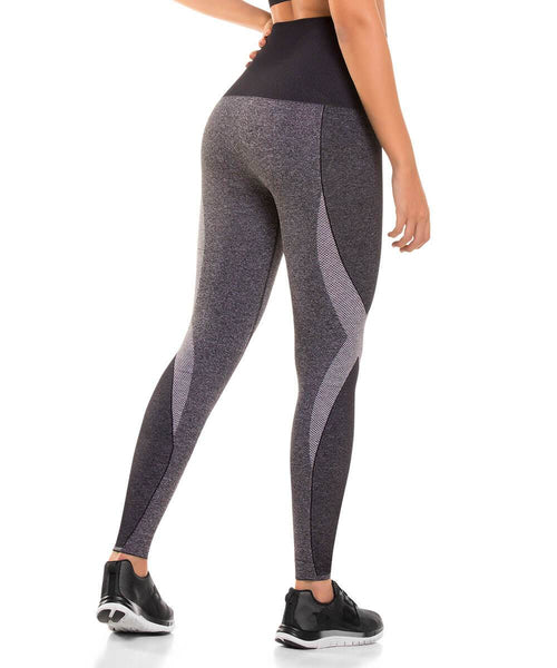 907 - Ultra Compression and Abdomen Control Fit Legging Gray Jaspe