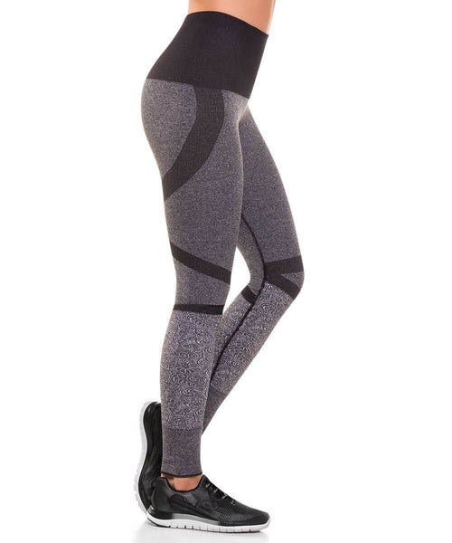 909 - Ultra Compression and Abdomen Control Fit Legging Gray Jaspe