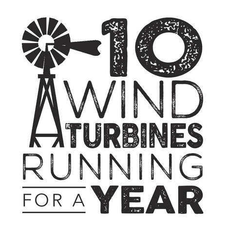 10 wind turbines running for a year