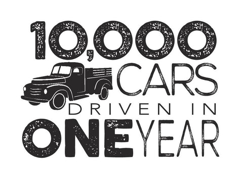 10,000 cars driven in one year