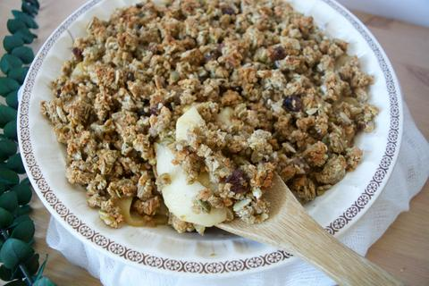 Apple ginger crumble topped with seednola. Great vegan recipe for the holidays.