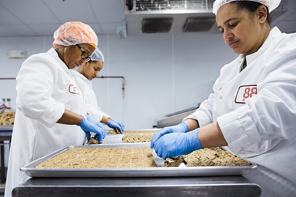 The Bakery Team making Seed Bars and Seed'nola