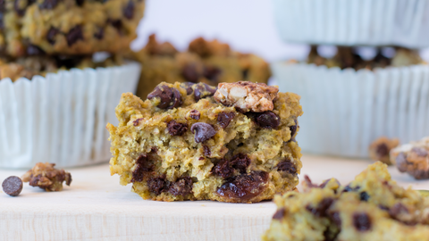 Pumpkin chocolate chip muffins. These vegan and gluten-free muffins are a great sweet treat!