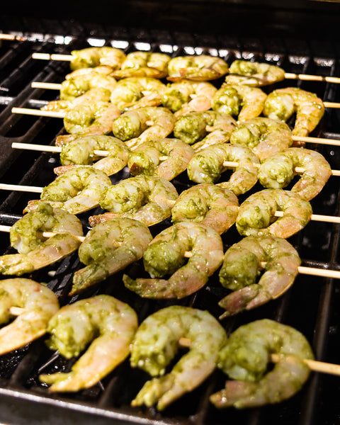 grilling green goddess shrimp skewers