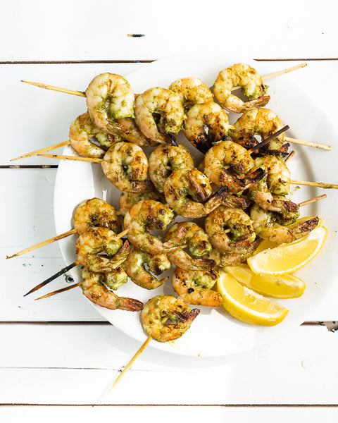 grilled green goddess shrimp skewers