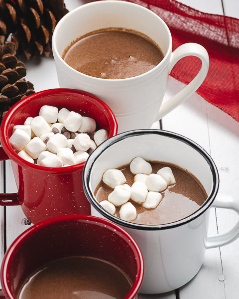 Easy-to-make hot cocoa with marshmallows and dark chocolate peppermint sunflower seed butter. Great holiday sweet treat for kids.
