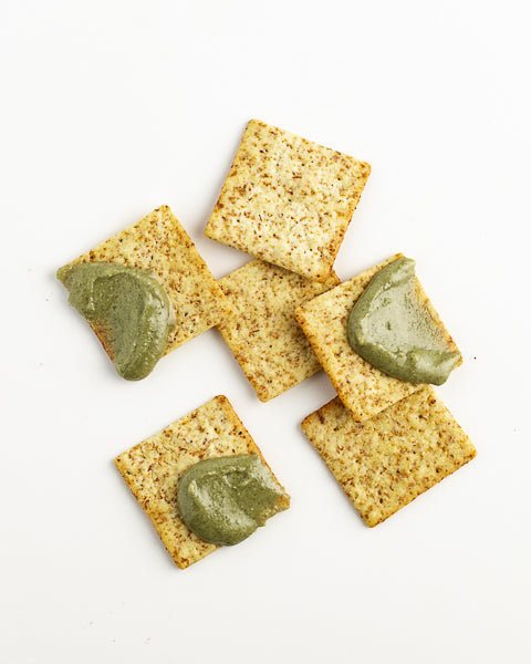 Crackers with Pumpkin Seed Butter. Perfect for entertaining, snacking, and picnics!