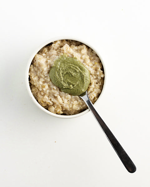 Oatmeal with Pumpkin Seed Butter. A great healthy, hearty breakfast.