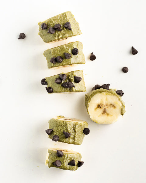 Pumpkin Seed Butter banana sushi with mini chocolate chips. Makes a great snack for kids!