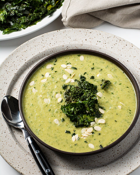 Kale and cauliflower soup with watermelon seed butter. Easy recipe for creamy homemade soup and a secret way to get veggies in!