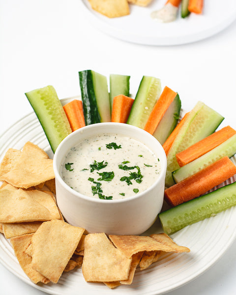 Dairy-free ranch dressing made with Watermelon Seed Butter. This homemade ranch recipe goes well with pita, sliced vegetables, or on salads!