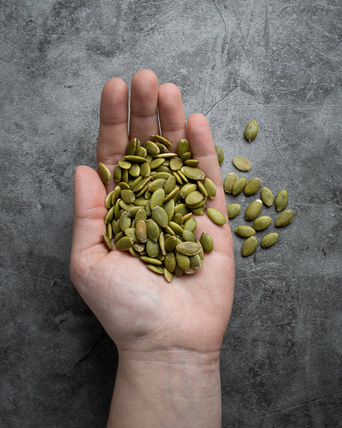 Raw pumpkin seeds - a great source of plant-based protein, iron, and magnesium.