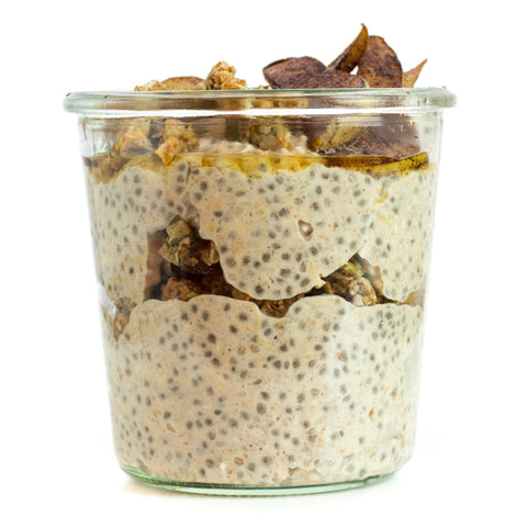 Spiced pear overnight oats with granola. Great snack when you're in a rush.