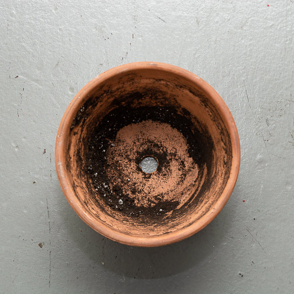 empty pot with a hole
