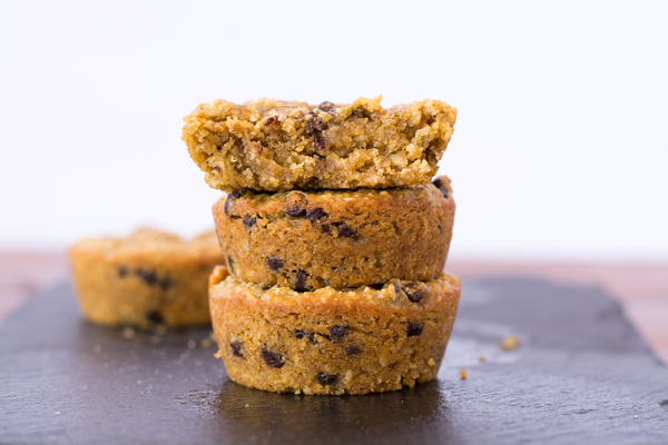 Pumpkin spice blondies with mini chocolate chips and vanilla spice seed butter. Healthy, easy recipe for an on-the-go snack!