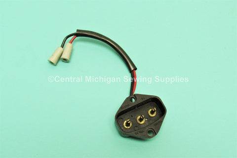 SINGER SEWING MACHINE MODEL 301, 301A ELECTRICAL PLUG RECEPTACLE 3 PIN