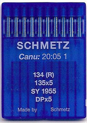 Schmetz Industrial Sewing Machine Needles 134R, 135x5, DPx5 Fits Singer Model 20U, 191D, 591D