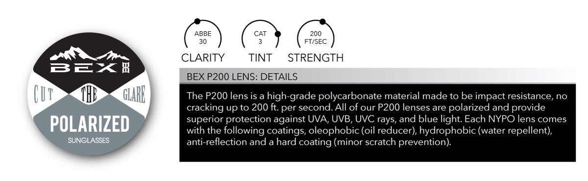 BEX P200 is our premium polycarbonate lens treated with all the our usual coatings.