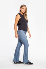 Mix Denim Flare Pants
