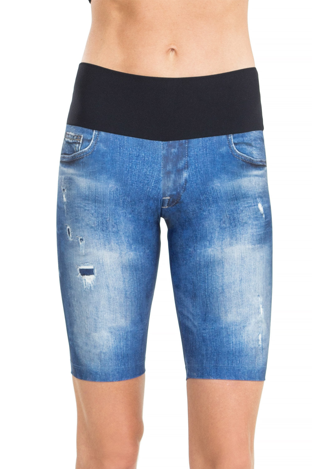 Denim Basic Biker Shorts