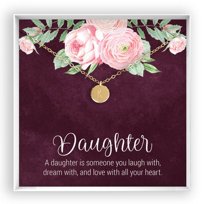 Daughter <br> Engraved Disc Necklace - Bella and Blush