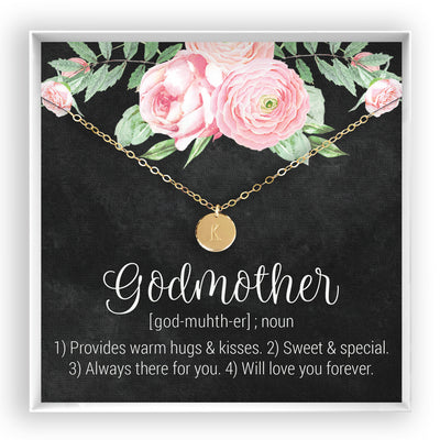 Godmother <br> Engraved Disc Necklace - Bella and Blush