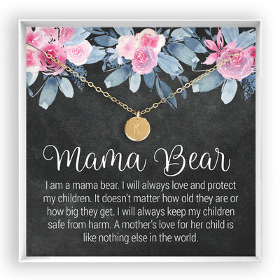 Mama Bear <br> Engraved Disc Necklace - Bella and Blush