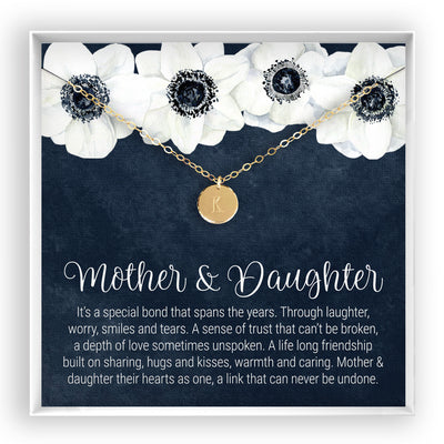 Mother & Daughter <br> Engraved Disc Necklace - Bella and Blush