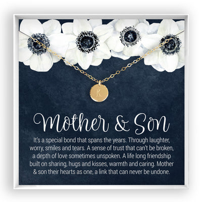 Mother & Son <br> Engraved Disc Necklace - Bella and Blush
