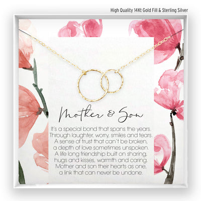 Mother & Daughter <br> Linked Circles Necklace - Bella and Blush