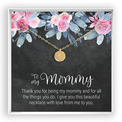 To My Mommy <br> Engraved Disc Necklace - Bella and Blush