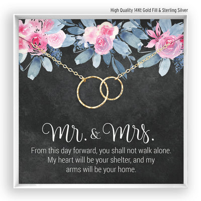 Mr & Mrs <br> Linked Circles Necklace - Bella and Blush