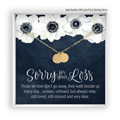Sorry for you Loss  <br> Engraved Disc Necklace - Bella and Blush