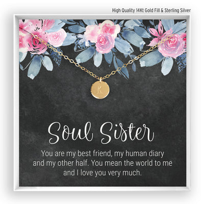 Soul Sister <br> Engraved Disc Necklace - Bella and Blush