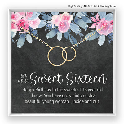 Sweet 16 Birthday <br> Linked Circles Necklace - Bella and Blush