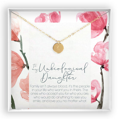Unbiological Daughter <br> Engraved Disc Necklace - Bella and Blush