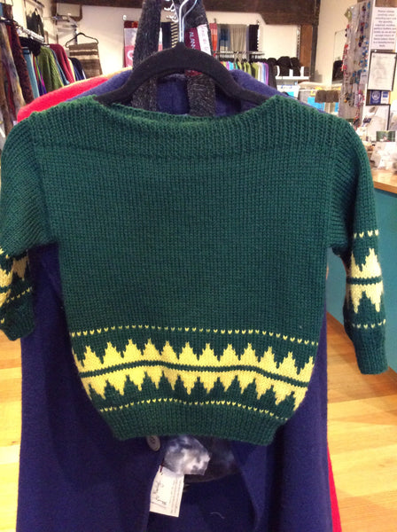 Child's Boat Neck Jumper Green/Gold 8-10 yr old