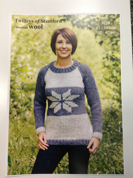 Freedom Wool Knitted Snowflake Sweater Pattern 9218