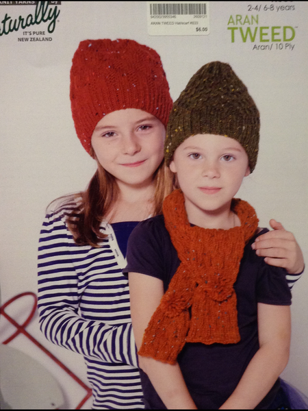 Aran Tweed Hat/Scarf  Leaflet Pattern K633