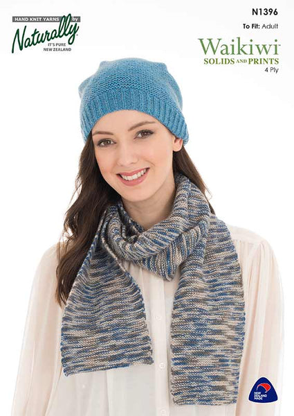 Waikiwi Patterns N1396 Garter Stitch Hat & Scarf