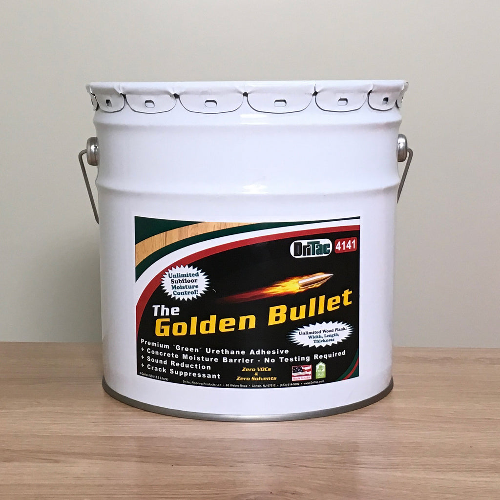 The Golden Bullet Adhesive - Unlimited Moisture Warranty - The Flooring Factory